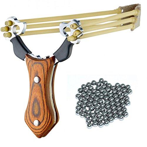 MEJOSER Profi Steinschleuder mit Holz Griff 3 x Katapult Gummiband Futterschleuder + 100 Stahlkugeln Munition