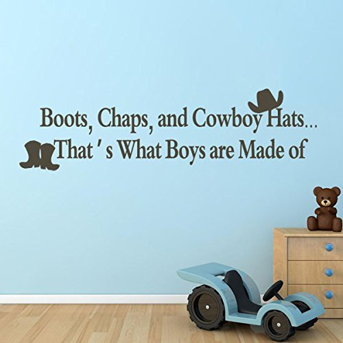 Boots Chaps And Cowboy Hats Vinyl Nursery Wall Decal Boys Nursery Wall Sticker Wall Graphic Wall Mural Home Art Decoration Brown by DigTour WallArt Kid Cowboy-chaps