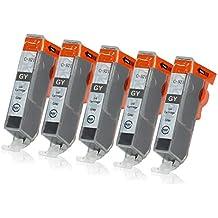 5 Druckerpatronen mit Chip und Füllstandsanzeige kompatibel zu Canon CLI-521 (Grau) passend für Canon Pixma MP-980 MP-990