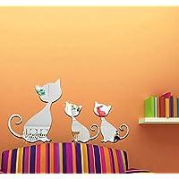 Extsud® Adesivo Murales Carta da Parete 3 Gatti, Wall Stickers a Specchio, Decorazione da Muro per Casa Ufficio Stanza Camera da Letto Camerette da Bambini Ristorante Hotel Fai da Te (Argento)