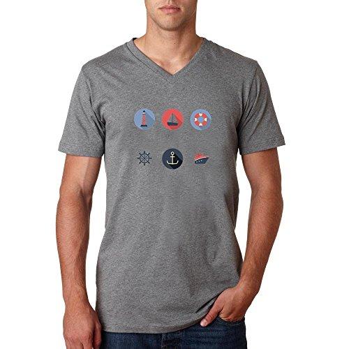 Sailor boat icons retro style dope Men's Vneck T-shirt Grau