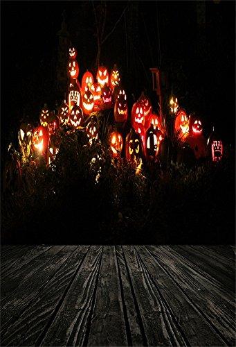 Aaloolaa 1,5x2,2m Fotografie Kulisse Foto Hintergrund Halloween Scary Grimace Pumpkin Lamp Night Wood Floor Baby Newborn Kid Child Boy Girl Portrait Artistic Scene Props Video Shooting (Wallpaper Halloween Cute Hintergründe)
