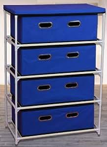 Fabric Commode 4 tiroirs en bleu - 92 cm x 58,5 cm x 34 cm