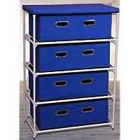Tessuto Cassettiera 4 cassetti in blu - 92 cm x 58,5 centimetri x 34 cm