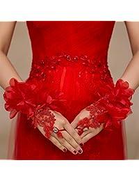 Doitsa 1 Paar Hochzeit Handschuhe Brauthandschuhe mit Große Blumen Spitzenhandschuhe Abendhandschuhe fingerlos Hochzeitsfeier Party Abendkleid,Rot