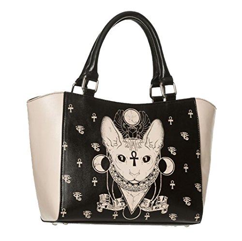 Banned Bastet Sphynx Katze Schwarz Kunstleder Gotik Okkulte Hexe Handtasche