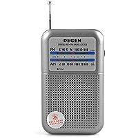 DEGEN DE333 Mini AM FM 2 Band Radio, 3.5mm Portable Pocket Novelty Radio Receiver, Handheld CB Radio, Digital Transceiver, Silver & Grey