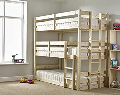 Three sleeper Bunkbed - 3ft Single Triple sleeper Bunk Bed - VERY STRONG BUNK - Contract Use - heavy duty use produced by Strictlybedsandbunks - quick delivery from UK.