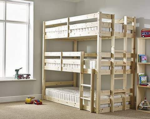 Three sleeper Bunkbed - 3ft Single Triple sleeper Bunk Bed - VERY STRONG BUNK - Contract Use - heavy duty
