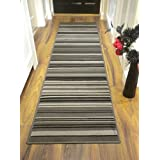 Alfombra alarga de color gris y negro, diseño a rayas, para entradas, 60 x 220 cm, resistente