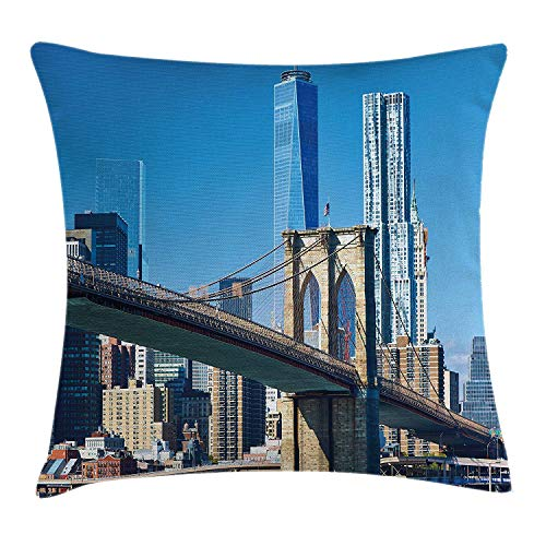 (MLNHY United States Throw Pillow Cushion Cover, Lower Manhattan Skyline Brooklyn Bridge in New York City Famous Landmark, Decorative Square Accent Pillow Case, 18 X 18 inches, Pale Blue Tan)