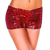 YiZYiF Damen Pailletten Shorts Elastische Shorty reizvolle Glitzer Party Tanz Kurz Hosen Club Tanz Kostüm Rot One Size