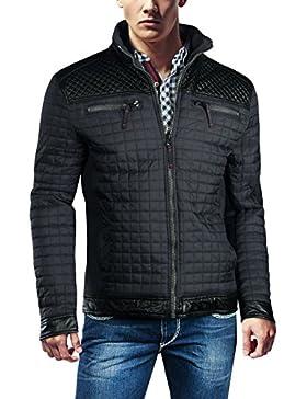 Trisens Chaqueta para hombre, imitación piel, PU, capucha, parka, cálida, pespunteada, chaqueta de entretiempo