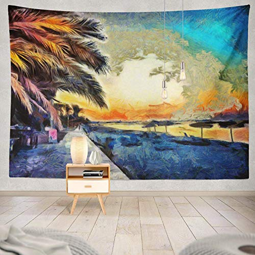 Gthytjhv arazzi decor collection, tropical paradise landscape and palm trees stock big art watercolor bedroom living room dorm wall hanging tapestry polyester & polyester blend