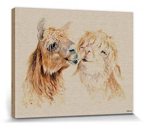 1art1 115787 Lamas - Sweet Nothings, Jane Bannon Poster Leinwandbild Auf Keilrahmen 50 x 40 cm