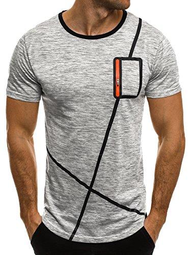 OZONEE Herren T-Shirt mit Motiv Kurzarm Rundhals Figurbetont JACK DAVIS 009 Hellgrau