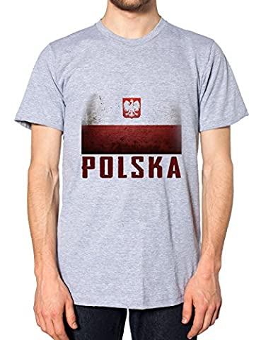 Pologne Drapeau Pour supporter de football Nation T-Shirt Top Country Polski T pour homme - Gris - XX-Large