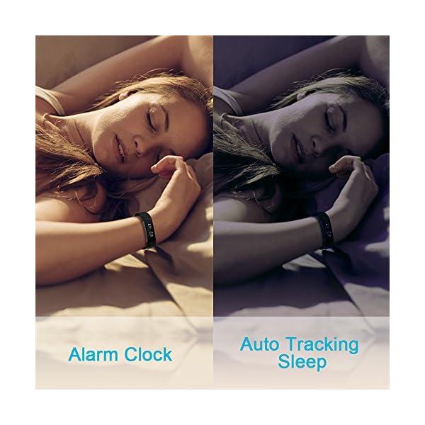 AIMIUVEI Pulsera Actividad Pulsera Inteligente Impermeable con 3 Correas Recambias, Reloj Inteligente Mujer y Hombre,Podómetro,Cronómetros,Despertador,Cámara Control,Compatible con iOS y Android 5