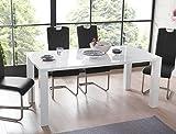 Esstisch Elton 120(160)x90x75cm Hochglanz weiss, Synchronauszug Esszimmertisch Küchentisch Tisch