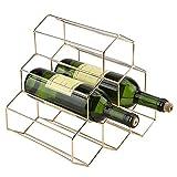 Estantería de vino independiente de 6 botellas Soporte de estante de vino de forma geométrica moderna Estante de exhibición de botellas de vino compacto de barra de metal 28.5 x 21.5 x 27.5cm