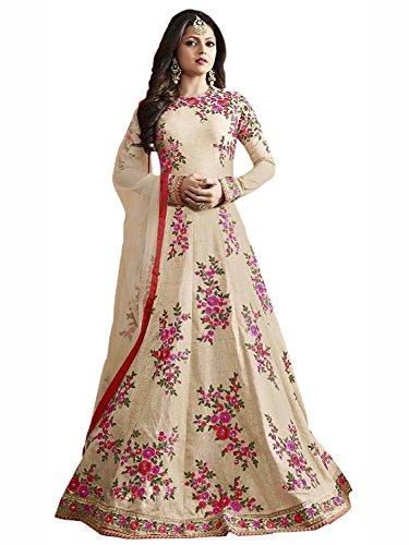 Special Mega Sale Festival Offer C&H Beige Banglory Silk Embroidery Designer Anarkali...