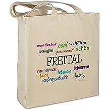 """Stofftasche mit Stadt/Ort """"Freital """" - Motiv Positive Eigenschaften - Farbe beige - Stoffbeutel, Jutebeutel, Einkaufstasche, Beutel"""