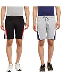 HAIG-DOT Men's Black And Light Grey Cotton Shorts Combo (Pack Of 2)