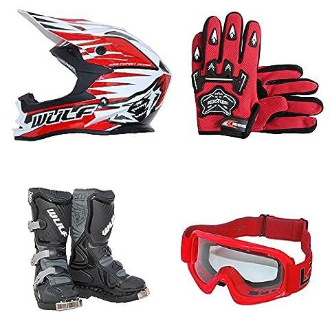 Wulfsport Kids Children LA Motorbike Motocross Boots + Wulfsport Kids Junior Advance Motocross MX Bike Helmet & Leopard Gloves & Leopard Goggles Off Road ATV Quad Helmet Red L(51-52cm) & Boots