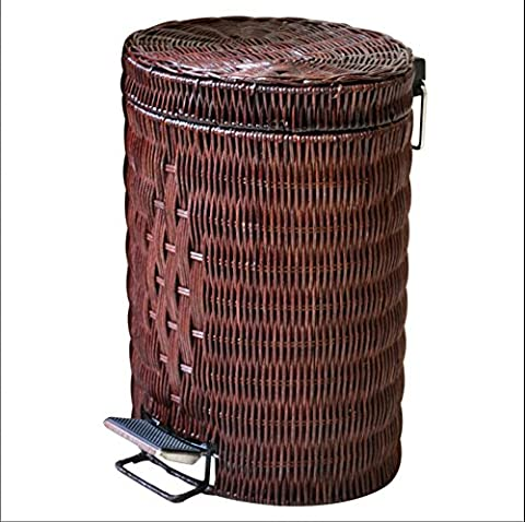 LINDA®Bin Bin Rattan Pedal Large Creative Home Bamboo Trash Can Living Room Kitchen Trash Cans Bathroom Covered Trash Cans Trash Can Dustbin Rubbish Bin Trash Bin Plastic Stainless Steel Iron Plate Glass Fiber Iron Wood Sanitary Trash Cans Trash Cans Metal Bucket Plastic Barrel Covering The Trash Can Kitchen Trash Can Big Trash Can Pedal Rubbish Steel Trash Can Mini Trash Can Class Trash Can,BROWN,12L