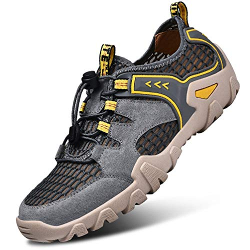 FLARUT Herren Outdoorsandalen Sommer Wanderschuhe Trekking Sandalen Super Atmung Laufschuhe Wanderhalbschuhe Lässige Sneaker Sportsandalen(grau,43) -