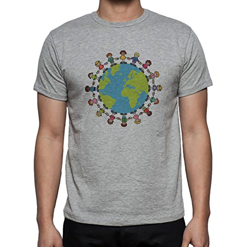 Peace Worldwide Different Race People Herren T-Shirt Grau