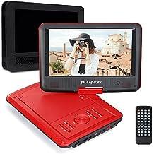 Pumpkin dvd portatile per bambini,5 ore gioco tempo, Schermo 9 pollici 800*480 Rotazione a 270° ,Lettore USB / SD Card, Ingresso AV IN / OUT, include Supporto Poggiatesta per Auto (Rosso)