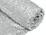 0,9 m Sequins Tissu, Argenté brillant à paillettes Glamour Nappe pour table de mariage/dessert, 125 cm Width-more Couleurs Disponible, Silver Color, 1 yards