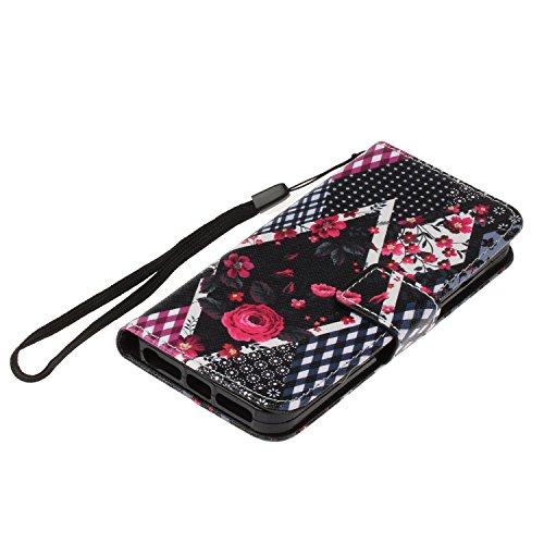 Custodia iphone SE / 5 / 5S Cover ,COZY HUT Flip Caso in Pelle Premium Portafoglio Custodia per iphone SE / 5 / 5S, Retro Animali di cartone animato Modello Design Con Cinturino da Polso Magnetico Sna Rose