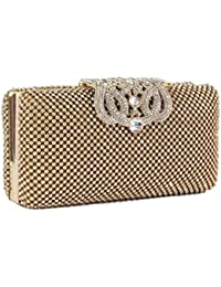 d52753797f144 Dazzling Crystal Gold Diamante Encrusted Evening bag Clutch Purse Party  Bridal Prom