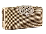 Dazzling Crystal Gold Diamante Encrusted Evening bag Clutch Purse Party Bridal Prom