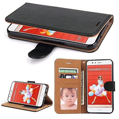 Huawei P10 Lite Hülle, SOWOKO Ledertasche Schutzhülle Flip Case Brieftasche Handytasche mit Kartenhalter und Ständer/ Magnetverschluss für Huawei P10 Lite, Schwarz