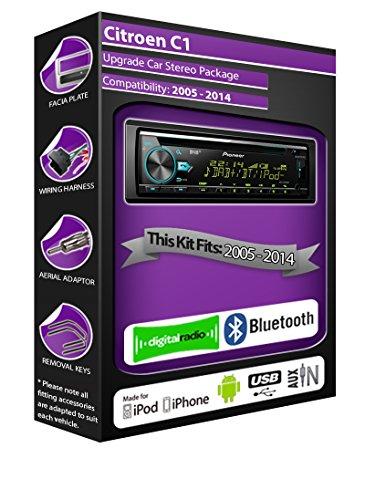 Citroen C1DAB Radio, Pioneer estéreo reproductor de CD USB AUX, Bluetooth Manos...