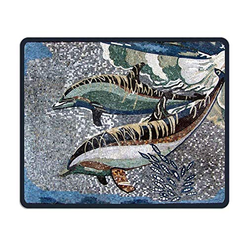 Dolphins Mosaic Mural Design Comfortable Rectangle Rubber Base Mousepad Gaming Mouse Pad