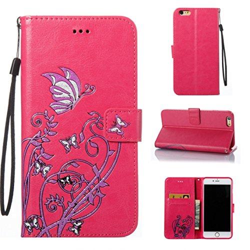 iPhone 6/6S Coque, Voguecase Étui en cuir synthétique chic avec fonction support pratique pour Apple iPhone 6/6S 4.7 (Papillons VI-Papillons orange/Pink)de Gratuit stylet l'écran aléatoire universelle Papillons VI-Papillons violet/Rose