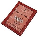 Cuir pochette de carte d'identité en cuir de veau ou cuir de buffle MJ-Design-Germany en différentes couleurs (Buffle Rouge)