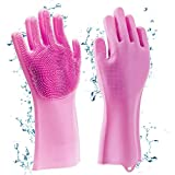 Horlite Silicone Non-Slip, Dishwashing and Pet Grooming, Magic Latex Scrubbing Gloves for Household Cleaning Great for Protecting Hands (Standard Size, Multicolour)