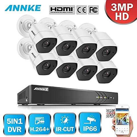ANNKE 8CH HD-TVI H.264+ DVR (8) Caméras 3.0MP Jour/Nuit Intérieur Extérieur Système de Vidéosurveillance Caméra de Surveillance Détection de mouvement Sans Disque Dur