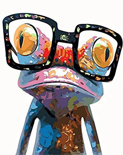 DIY Diamant Ölgemälde Tier, Karida 5D DIY Diamant Gemälde von Nummer Kits Sonnenbrille Frosch für Dekoration 25,4x 30,5cm-(Full)