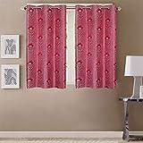 Queenzliving Secret Linen Curtain, Window 5 feet- Pack of 2, Lava Red