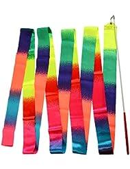Idealeben 2pcs Gimnasia Rítmica Cinta Multicolor Gradiente - 4m Juguete de Gimnasio Ideal para los Bailarínes y los Niños