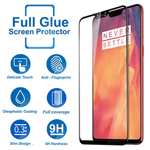 Knotyy OnePlus 6 Tempered Glass Screen Protector Edge to Edge Fit 9H Hardness Bubble Free Anti-Scratch Crystal Clarity 5D Curved...