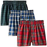 Hanes Boys' 3 Pack Ultimate Tartan Boxer, Assorted, Small