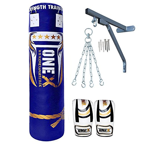 onex-new-9-pieces-heavy-filled-kick-boxing-set-5ft-punch-bag-gloves-wall-bracket-chain-mma-punching-