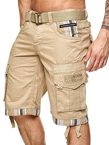 Geographical Norway Herren Cargo Short Priority in Beige Größe XXL (Fashion Cargo Shorts Herren)